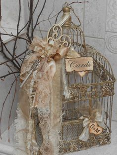 Wedding Card Box / Birdcage Cardholder / Vintage by YesMoreFunk