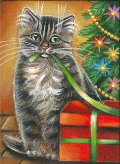Gray Tabby Cat Kitten Xmas Tree Original Art 5x7 Painting by MARTA