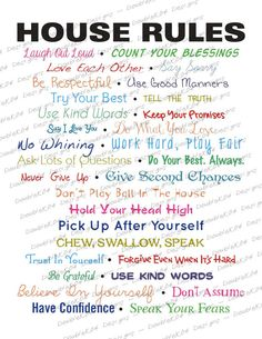 House Rules Kids House Rules, House Rules Sign, Family Rules Sign, Rules For Kids, Chores For Kids, Life Rules, Kids And Parenting, Parenting Hacks, Family Values