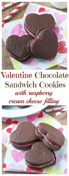 Valentine Chocolate Sandwich Cookies with Raspberry Cream Cheese Frosting