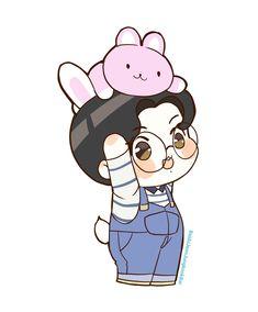 Jungkook Fanart, Jungkook Cute, Chibi Bts, Anime Chibi, K Pop, Bts Wallpaper Lyrics, Bts Drawings, Cute Doodles, Star Art