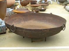On my wish list.Indian cooking pot from Kyo trading in Ocean Grove,Vic required for a serious fire pit in the back yard. Cooking Bowl, Large Fire Pit, Cool Fire Pits, Japanese Furniture, Fire Bowls, Outdoor Landscaping, Interior Styling, Just In Case, Garden Design