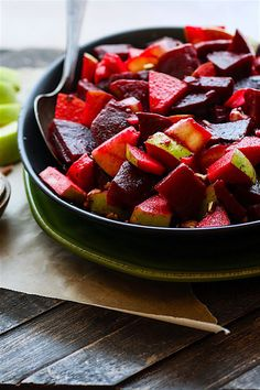 Marinated Beet and Apple Salad with banana peppers and pecans. vegan and paleo friendly and packed full of flavor! This beet and apple salad is rich in antioxidants, easy to make, and great to boost your health.