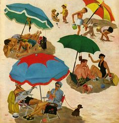 'Under Umbrellas' by George Hughes. Detail from Saturday Evening Post cover August 2, 1952.