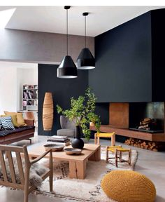 Perfect coffee table--simple, large enough for multiple large items on top Black fireplace