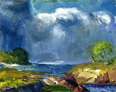 The Coming Storm - George Bellows (1882–1925) was regarded as one of America's greatest artists. During his  visits to Maine, he turned toward landscape painting. In 1916, Bellows & his family were summering in remote Camden, Maine, with LEON KROLL. Early in their stay they were visited almost daily with storms, and Bellows's paintings from June and July are among his most dramatic in their contrast and energetic brushwork.