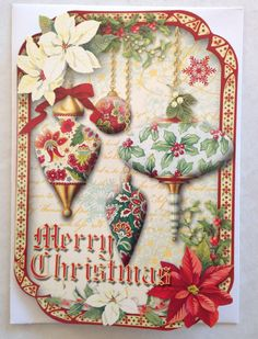 Punch Studio Blank Christmas Cards set 4 Envelopes Ornaments Poinsettia #PunchStudio #Christmas