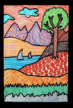 With colored felt tip pens we  have drew these landscapes, starting from a stylized drawing of a simple landscape (rocks, grass, hills, a tree, a lake with boats, some other hills and mountains in …