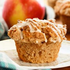 Quick and easy apple muffins filled with apples and finished with a crunchy cinnamon crumb topping. The best kind of breakfast.