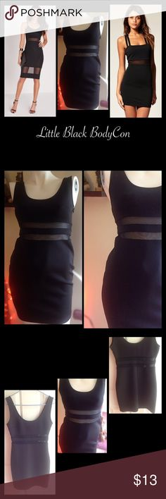 """Little Black BodyCon Black BodyCon dress with mesh mid strips. Has zipper on the side. Stretchy material. Gently worn however there is a small minor imperfection on the lower left side of dress. Small snag which is pictured in the last photo. Not noticeable when your wearing it. Price reflects imperfection. Inseam 24"""" length. Shoulder to bottom length 29.5"""". Forever 21 Dresses"""