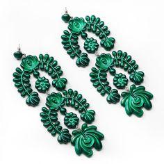 Lokalwear - Matyo Oversized Garland Chandelier Earrings Metalic Green ($49) ❤ liked on Polyvore