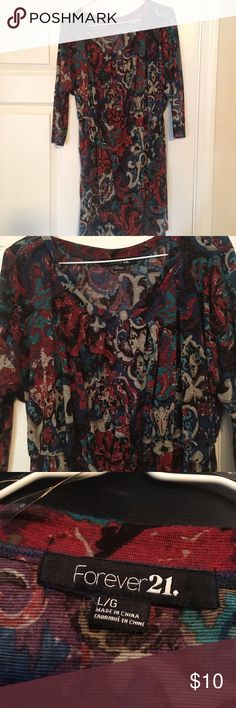 Forever 21 Dolman Dress Forever 21 dolman dress. Paisley print. Elastic waist. Three-quarter inch sleeves. Size large. Forever 21 Dresses Long Sleeve