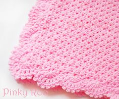 Crochet Baby Blanket in Pink with a scalloped trim / baby girl blanket / baby shower gift
