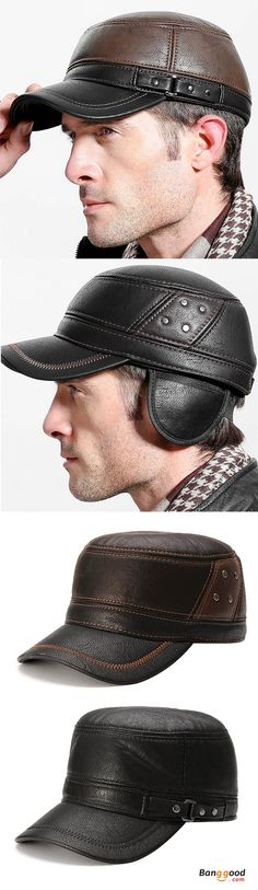 PU Leather Earflap Ear Muffs Baseball Cap Polar Fleece Linen Adjustable Golf Hat // Waterproof and anti-dust // Soft warm polar fleece lining // Closed back and Earmuff earflap design // Adjustable buckle, you can change the size you want. Get the look!