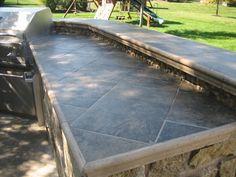Outdoor Kitchen Tile Countertop Kitchens Design Patio Backyard