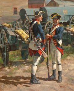 Royal Regiment of Artillery 1775 by Don Troiani ( American Revolutionary War Ar American Revolutionary War, American Civil War, Early American, American History, Independence War, American Independence, Military Art, Military History, Military Uniforms