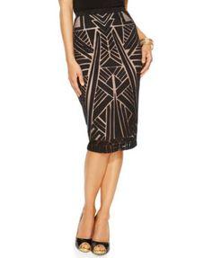 Thalia Sodi Geo-Print Illusion Pencil Skirt