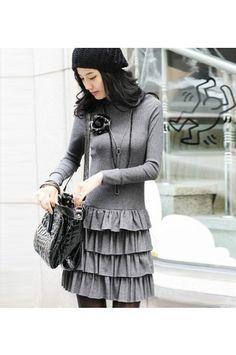 $32.99 Long Sleeves Turtleneck Sweater Dress @ MayKool.com