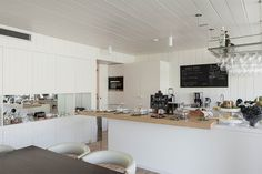 Communal guest kitchen at the Casa do Rio, a boutique hotel, as part of the Quinta Do Vallado Winery in Portugal