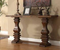 Homelegance Marie Louise Rustic Oak Brown Sofa Table