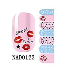 1 Pack Stylish Nail Art Stickers Easy Attach Self Adhesive Glitter Tips Style Code NAD0123 *** Want to know more, click on the image.