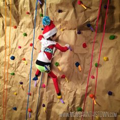 Fitsie the Elf The Elf, Elf On The Shelf, Rock Wall, Fun Challenges, Rock Climbing, Christmas Humor, Elves, Shelf Ideas, Photo And Video