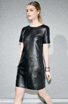 4bf30325e9b4 Halogen® Leather & Ponte Knit Shift Dress (Regular & Petite)   Nordstrom