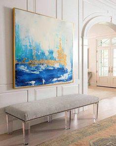 Skyline Painting Acrylic Abstract Art on Canvas Skyline Painting, Blue Painting, Acrylic Painting Canvas, Large Canvas Wall Art, Canvas Walls, Framed Art, Framed Prints, Canvas Prints, Contemporary Paintings