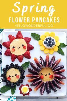 Spring Flower Pancakes. Flower food art. Kids cute food idea.