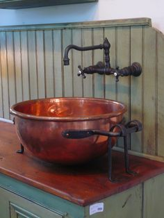 copper pot makes a beautiful vessel sink