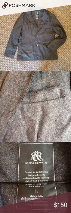 🙋🏽‍♂️ ROCK & REPUBLIC 🆕 Gray Wool Blazer ROCK & REPUBLIC Gray Wool Blazer with rough cut edges. Great textured jacket with metal buttons. Size large. New without tags. Extra buttons included. Pockets still sewn shut. Wool polyester acrylic blend. Offers welcome. Rock & Republic Suits & Blazers Sport Coats & Blazers