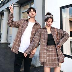 Matching Couple Outfits, Matching Couples, Cute Couples, Plaid Shirt Outfits, Cute Casual Outfits, Korean Couple, Fashion Couple, Cute Jackets, Plaid Skirts