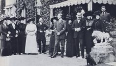 Sandringham 1912.  From L-R:  Edward VII's niece, Princess Margaret of Prussia; his niece, Crown Princess Sophie of Greece; Alexandra's daughter, Princess Victoria; Edward VII's niece, Crown Princess Marie of Romania; Margaret's husband, Prince Frederick of Hesse; A & D's nephew, Prince George of Greece, with his wife, Marie; Dagmar; A & D's nephew, Crown Prince Constantine of Greece (with his son George behind him); Helene, Duchess of Aosta; Alexandra; Crown Prince Ferdinand of Romania.