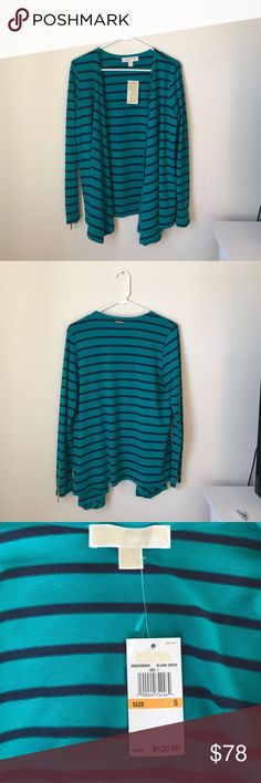 Michael Kors Striped Cardigan Never worn, size small, navy and turquoise striped cardigan with gold zippers on each sleeve. 62% polyester, 34% viscose, 4% elastane. Michael Kors Sweaters Cardigans