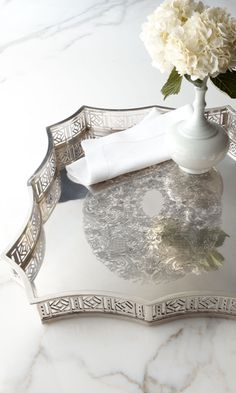 Scalloped-Edge Metal Tray from Horchow. Saved to fun finds. Shop more products from Horchow on Wanelo.