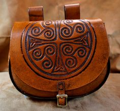 Hand tooled leather belt pouch with cross and triskeles - SCA/LARP/Celtic