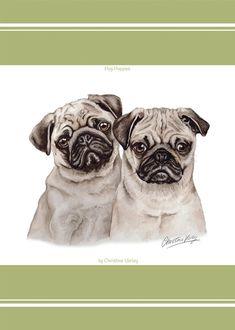 Pug Pupz Waggy Dogz Tea Towel