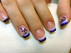 Easy French Nail Designs Pictures and Tutorials – Inspiring Nail Art Designs & Ideas Nail Art Designs, French Tip Nail Designs, Nail Designs Pictures, French Nail Art, Short Nail Designs, Simple Nail Designs, Art Pictures, Art Images, Airbrush Nail Art