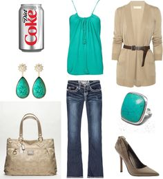 """Teal and Brown"" by achristie on Polyvore"