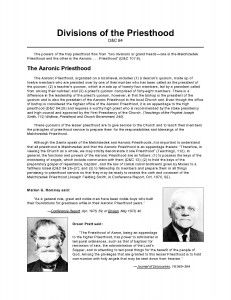 LDS Freebie Handout: Divisions of the Priesthood