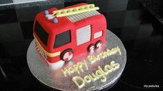 Fire Engine cake Fireman Birthday, Fireman Party, Fireman Sam, 5th Birthday Party Ideas, Birthday Cake, Fire Engine Cake, Truck Cakes, Pig Party, Cakes For Boys