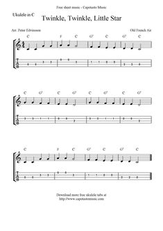 "✓""Twinkle, Twinkle, Little Star"" Ukulele Sheet Music - Free Printable"