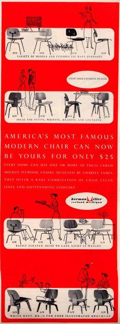 Herman Miller ad in the back of the October, 1952 House Beautiful magazine. Repinned by Secret Design Studio.  www.secretdesignstudio.com