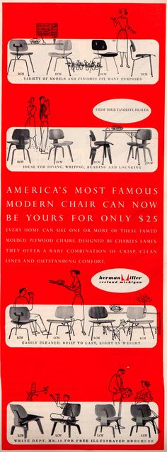 Herman Miller ad in the back of the October, 1952 House Beautiful magazine. Repinned by Secret Design Studio.  www.secretdesignstudio.com