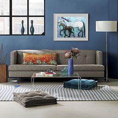 Horse painting original oil on canvas motherhood art turquoise blue canvas home decoration HORSES modern artwork by Elisaveta Sivas 18 x 28'
