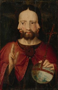 Christ with Three Faces, representing the Trinity. By an artist of the Netherlandish School, Renaissance Kunst, Saint Esprit, Bizarre, Medieval Art, Sacred Art, Old Master, Christian Art, Religious Art, Middle Ages