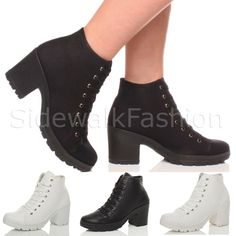 WOMENS LADIES MID CHUNKY BLOCK HEEL CLEATED TREAD SPORTY ANKLE BOOTS SIZE