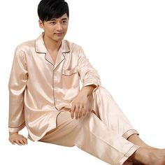 414df0827b Men s Fashion · Upscale Couples Pajamas Sets Men Women Long Sleeve Sleepwear  Homewear Nightshirt Soft Faux Silk Satin Satin. Satin Pyjama ...