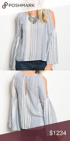 "STRIPES ️BLUE AND WHITE STRIPE TOP FEATURES COLD SHOULDER, LONG BELL SLEEVES, ROUNDED NECK, KEYHOLE BACK. *COTTON SMALL MEASUREMENTS BUST 34"" LENGTH 23""  Tops"
