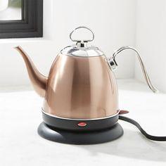 Chantal Mia electric tea kettle, copper, C&B Cast Iron Pot, Cast Iron Cookware, Cookware Set, Plastic Ware, Pour Over Coffee, Crate And Barrel, Tea Pots, Cool Stuff, Tea Kettles